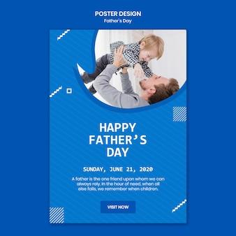 Papa fête des pères passer du temps avec le modèle d'affiche enfant