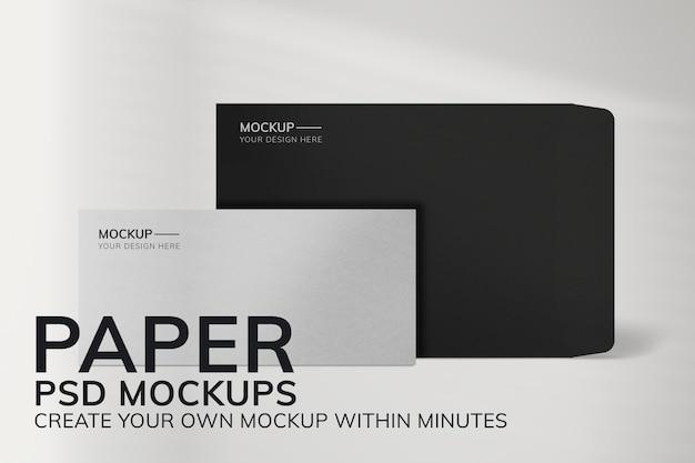 Papeterie psd de maquette de papier minimale avec enveloppe