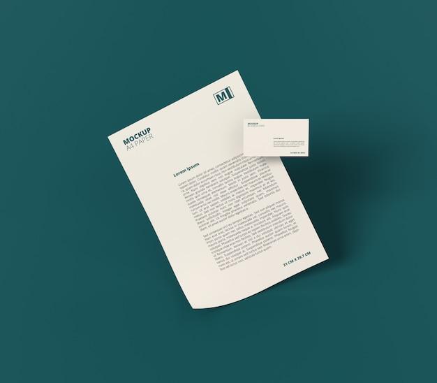 Papier a4 avec maquette de carte de visite