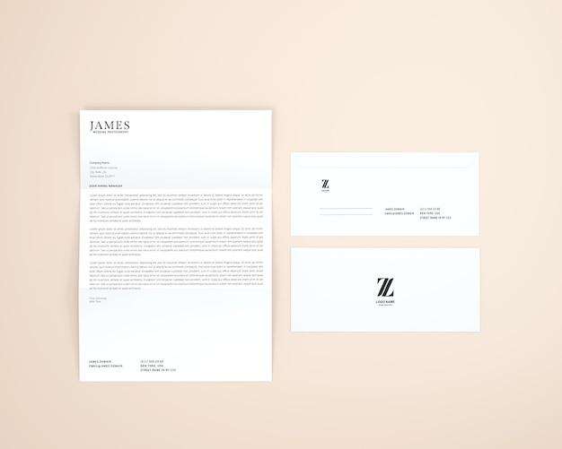 Papier a4 avec maquette d'enveloppe