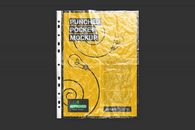 Papier a4 en maquette de poche perforée froissée