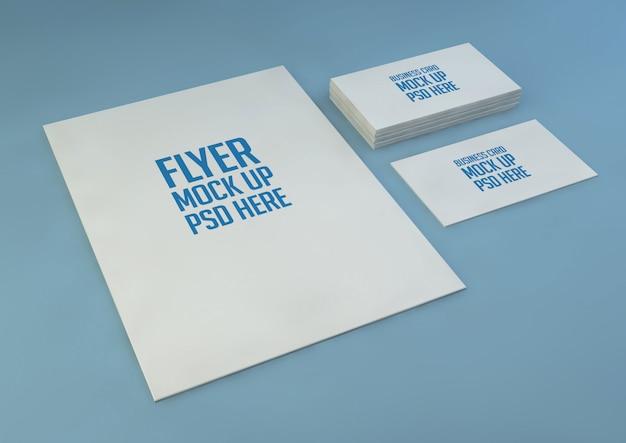 Papier a4 minimaliste avec maquette de carte de visite psd premium