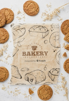 Papier de boulangerie avec biscuits