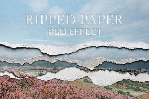 Papier déchiré psd effet de texture add-on photoshop média remixé