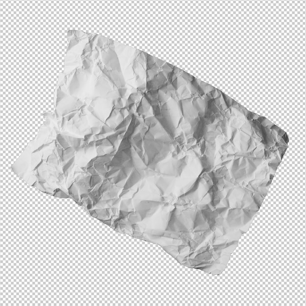 Papier froissé sur fond blanc
