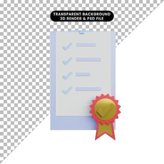 Papier de liste de contrôle d'illustration 3d