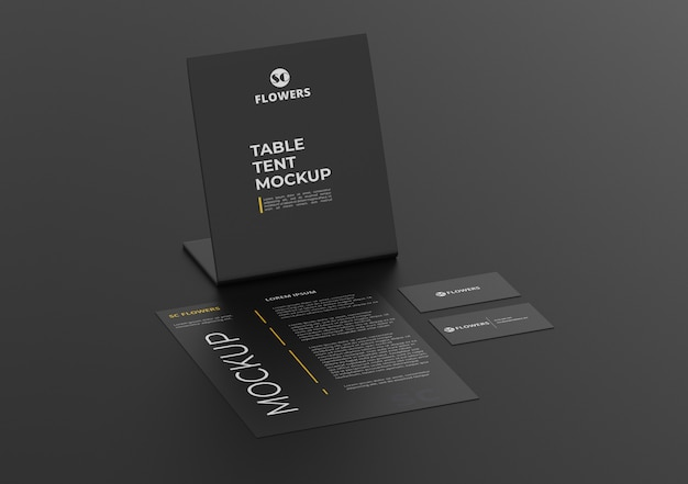 Papier de tente de table a4, ensemble de papeterie de carte de visite