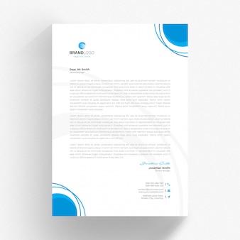 Papier à en-tête créatif cv avec cercles bleus