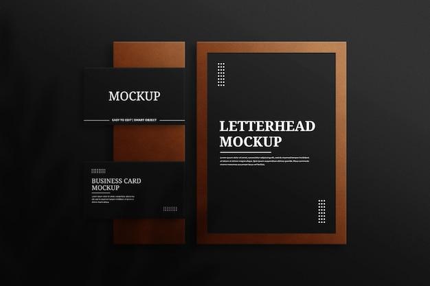 Papier à en-tête décoratif texturé en cuir et maquette de carte de visite