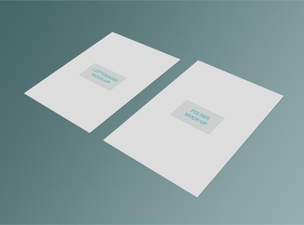 Papier à en-tête et maquette de dossier a4