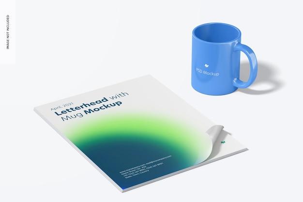 Papier à en-tête avec maquette de tasse, vue de droite