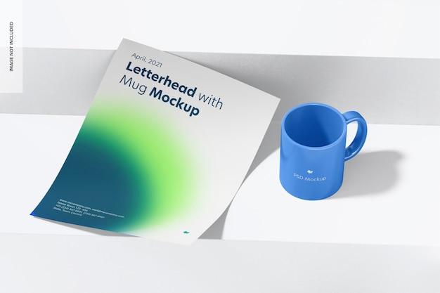 Papier à en-tête avec maquette de tasse, vue de gauche