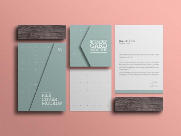 Papier à en-tête minimal avec maquette de carte d'invitation