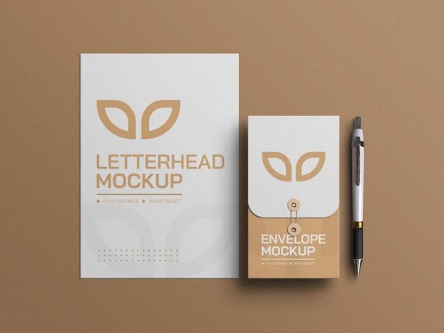 Papier à en-tête minimal avec maquette d'enveloppe