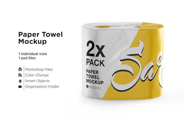 Papier toilette 4 pack maquette isolé