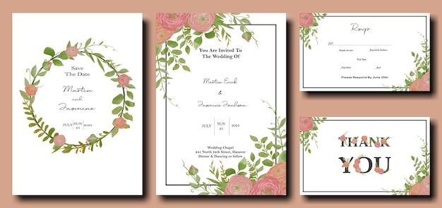 Paquet de cartes d'invitation de mariage avec fleur de pivoine aquarelle et conception de modèle de feuilles