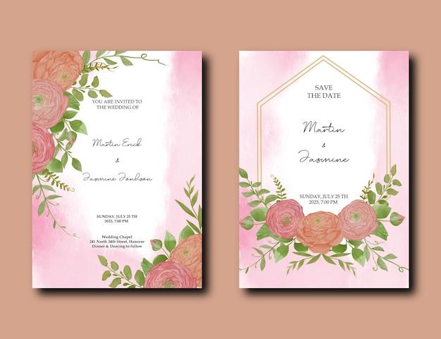 Paquet de cartes d'invitation de mariage avec modèle aquarelle floral et feuilles au coin