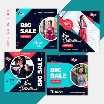 Paquet commercial de marketing de médias sociaux, poste instagram, bannière carrée ou modèle de flyer