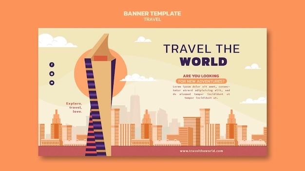 Parcourez le modèle de bannière horizontale du monde avec des points de repère