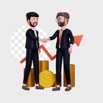 Les partenaires commerciaux 3d construisent des entreprises ensemble