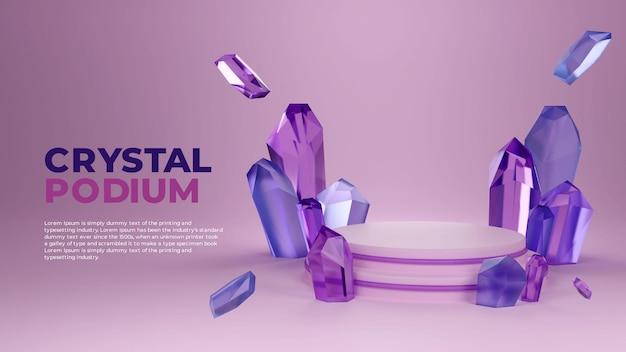 Paysage de podium 3d en cristal violet bleu