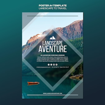 Paysage pour modèle d'affiche de concept de voyage