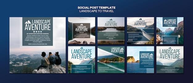 Paysage pour le modèle de publication de médias sociaux de concept de voyage