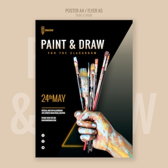 Peindre et dessiner le dépliant de la classe