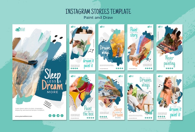 Peindre et dessiner un modèle d'histoires instagram