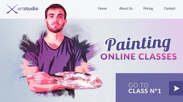 Peinture des cours en ligne avec la page de destination des enseignants