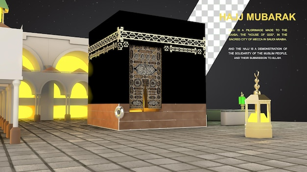 Pèlerinage islamique à la mecque eid adha mubarak mosquée islamique réaliste de la kaaba
