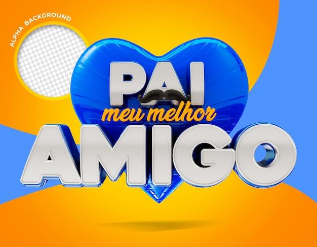 Père meilleur ami au brésil logo rendu 3d
