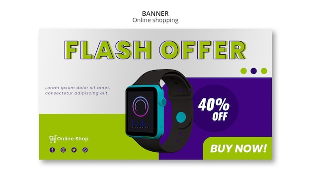 Périphériques boutique en ligne modèle de bannière horizontale offre flash