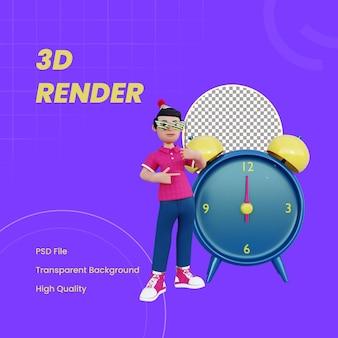 Personnage 3d tenant un masque de fête à côté de l'horloge