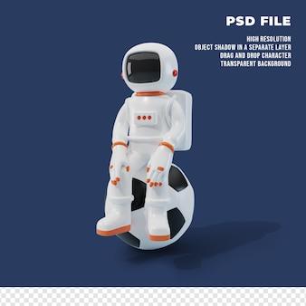 Personnage astronaute 3d avec le ballon