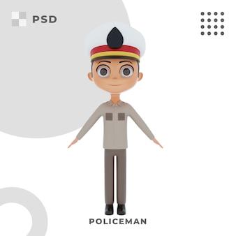 Personnage de dessin animé 3d de policier avec pose