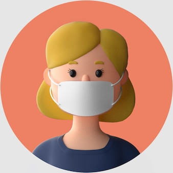 Personnage de dessin animé 3d portant une maquette de masque facial