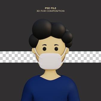 Personnage de dessin animé 3d portant un masque illustration premium psd