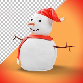 Personnage drôle de bonhomme de neige 3d avec chapeau rouge et écharpe