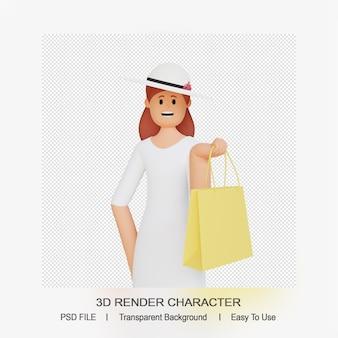 Personnage féminin 3d avec sac à provisions
