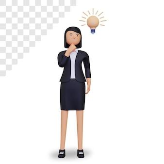 Le personnage de femme d'affaires 3d pense à quelque chose
