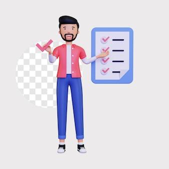 Le personnage masculin 3d se lève et affiche un exemple de liste de contrôle