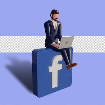 Le personnage masculin 3d tape sur un ordinateur portable et est assis sur le logo facebook.