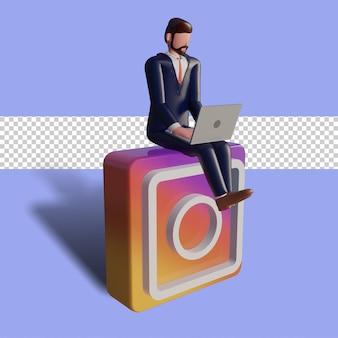 Le personnage masculin 3d tape sur un ordinateur portable et est assis sur le logo instagram.