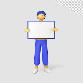 Personnage masculin 3d tenant une mini bannière