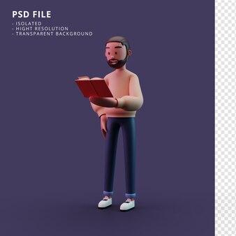 Personnage masculin élégant tenant un livre rendu 3d
