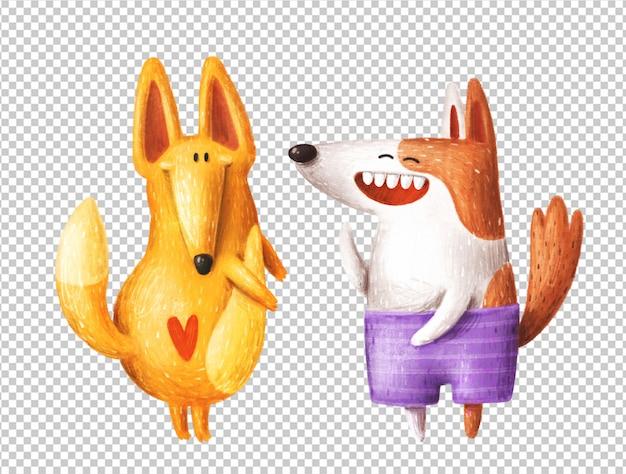 Personnages drôles de chiens