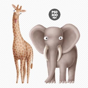 Personnages mignons animaux safari isolés