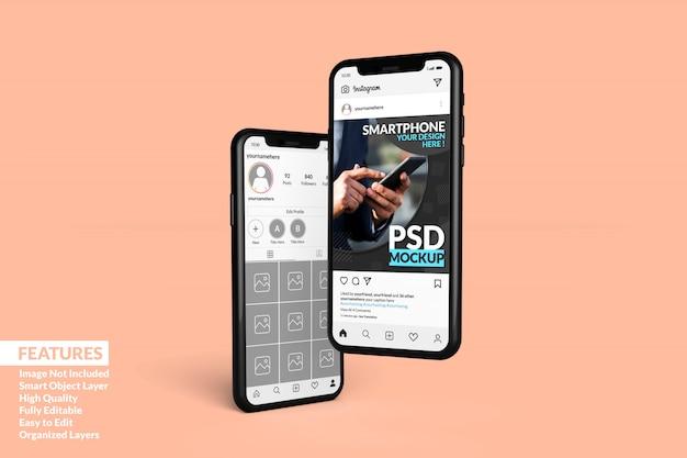 Personnalisation de deux maquettes de téléphone portable de haute qualité pour afficher le modèle de publication instagram premium