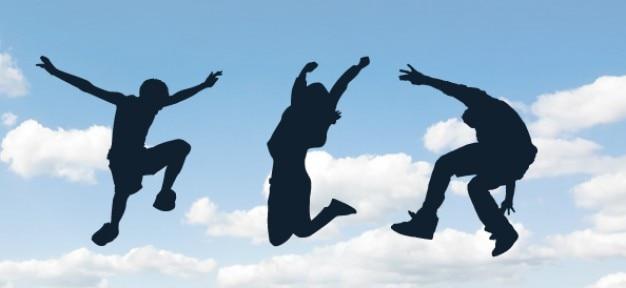Personnes sautant silhouettes mis en